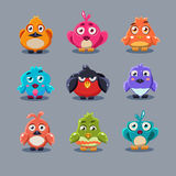 Funny Cartoon Birds, Vector Illustration. Set Stock Photography
