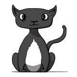 Funny cartoon black cat. Vector illustration Stock Photography