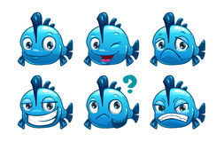 Funny cartoon blue fish stock illustration