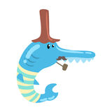 Funny cartoon blue fish with long nose and mustache smoking pipe colorful character vector Illustration Royalty Free Stock Photography