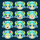 Funny cartoon blue monster emotions set Stock Images