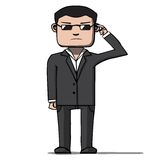 Funny cartoon bodyguard. Security. Vector Stock Images