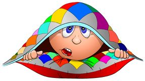 Funny cartoon boy lies on a pillow and hid under a blanket, vector stock photo