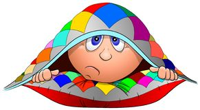 Funny cartoon boy lies on a pillow and hid under a blanket, vector stock image