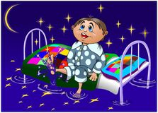 Funny cartoon boy sitting on a bed and playing with the stars, vector stock photo