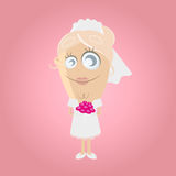 Funny cartoon bride. Illustration of a funny cartoon bride Stock Photos