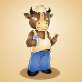 Funny cartoon bull with glass of milk. Vector Royalty Free Stock Image