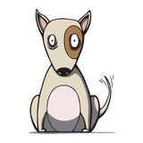 Funny cartoon bull terrier dog. Vector Royalty Free Stock Images