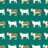Funny cartoon bulldog dog character bread seamless pattern puppy pet animal doggy vector illustration. Funny cartoon bulldog dog character bread seamless royalty free illustration