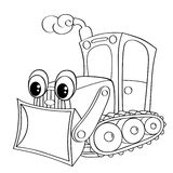 Funny cartoon bulldozer. Black and white vector illustration for coloring book Stock Photography