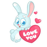 Funny cartoon bunny rabbit with heart and text Love You. Vector Illustration Stock Photos