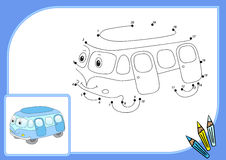 Funny cartoon bus. Connect dots and get image. Educational game Royalty Free Stock Photography