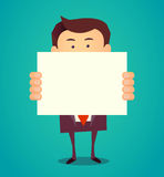 Funny cartoon business man holding a blank banner. Vector illustration Royalty Free Stock Image