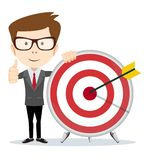 Funny cartoon business man holding a dart board with a direct hit on target. Funny cartoon business man shows a sign of victory and holding a dart board with a stock illustration
