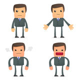 Funny cartoon businessman angry and frustrated Stock Images