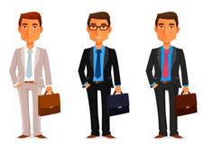 Funny cartoon businessman. With a briefcase Stock Photos