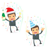 Funny cartoon businessman celebrating the holiday. Set of funny cartoon businessman in various poses for use in presentations, etc Stock Photography