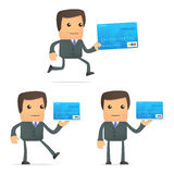 Funny cartoon businessman with credit card Stock Image