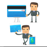 Funny cartoon businessman with credit card Stock Photo