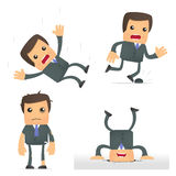 Funny cartoon businessman in a dangerous situation. Set of funny cartoon businessman in various poses for use in presentations, etc Stock Photo