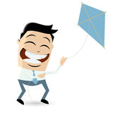 Funny cartoon businessman is flying a kite Royalty Free Stock Photos
