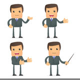 Funny cartoon businessman giving presentation. Set of funny cartoon businessman in various poses for use in presentations, etc Royalty Free Stock Photos