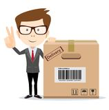 Funny cartoon businessman in glasses with a cardboard box Stock Photography