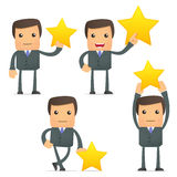 Funny cartoon businessman holding a favorite star. Set of funny cartoon businessman in various poses for use in presentations, etc Stock Photo