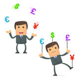 Funny cartoon businessman juggling currency Stock Photos
