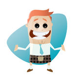 Funny cartoon businessman in kilt. Illustration of a funny cartoon businessman in kilt Royalty Free Stock Photography