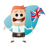 Funny cartoon businessman in kilt with union jack Stock Images
