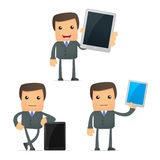 Funny cartoon businessman with a laptop Stock Photo