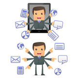 Funny cartoon businessman with a laptop Royalty Free Stock Image