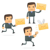 Funny cartoon businessman with a letter Stock Photos