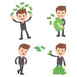 Funny Vector Cartoon Businessman. A funny cartoon businessman in a business suit with money Royalty Free Stock Photo