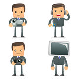 Funny cartoon businessman and multimedia Stock Photos