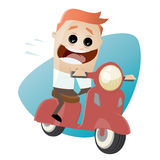 Funny cartoon businessman on scooter Stock Image
