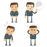 Funny cartoon businessman in various poses Royalty Free Stock Photos