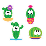 Funny cartoon cacti. With flowers in colorful pots Stock Photography