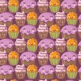 Funny cartoon cakes. Cute seamless pattern Stock Photo