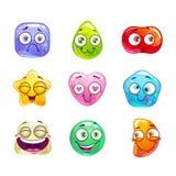 Funny cartoon candy characters Stock Photos