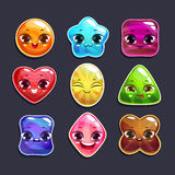 Funny cartoon candy characters set Royalty Free Stock Photo