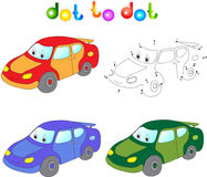 Funny cartoon car. Connect dots and get image. Educational game Royalty Free Stock Photo