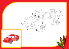 Funny cartoon car. Connect dots and get image. Educational game Royalty Free Stock Images