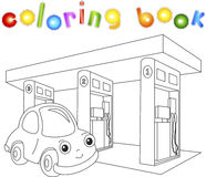 Funny cartoon car near the petrol station. Coloring book for chi Stock Image