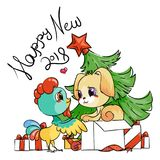 Funny cartoon card with dog and rooster. Symbols of 2017 and 2018. Happy New Year illustration. Funny cartoon card with dog and rooster. Symbols of 2017 and 2018 Stock Photo