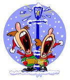Funny cartoon carol singers. Two funny cartoon characters at Christmas shattering a street lamp with their singing Stock Photos