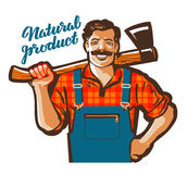 Funny cartoon carpenter, lumberjack. vector illustration Stock Images