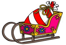 Funny cartoon carriage illustration, christmas theme stock images