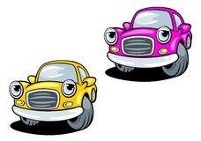 Funny cartoon cars with eyes Royalty Free Stock Image